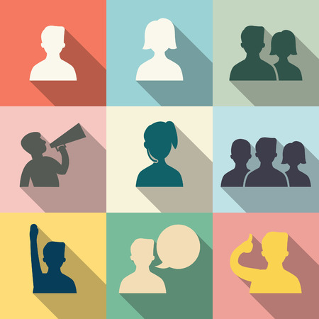 approve icon: Icon set of people in communication concept, in flat design with vintage color style  Each layers are separated, easty to edit or change color   Illustration