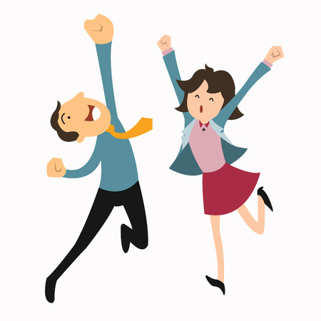 man in air: Happy business man and woman jumping in the air cheerfully  Feeling and emotion concept