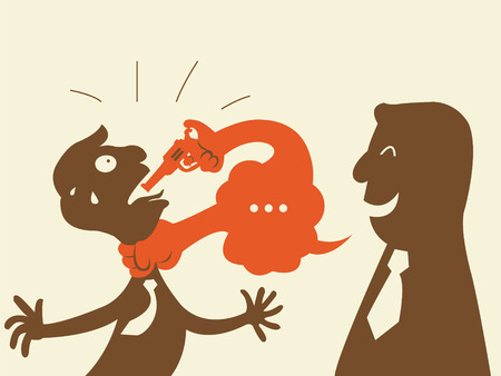 betray: Businessman lay a hand on opponent and attacking with gun by speech bubble  Metaphor to man appear to be good but his speaking or wording can be harmful to another