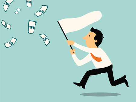 Businessman running with butterfly net chasing money which is flying in the air  Finance business concept   Ilustrace