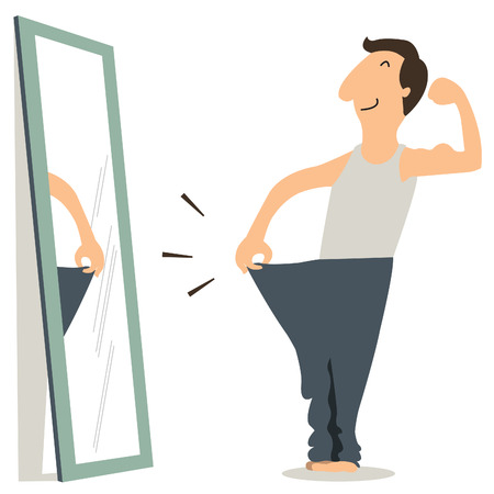 muscle cartoon: Happy man standing in front of mirror and see himself slim and fitness