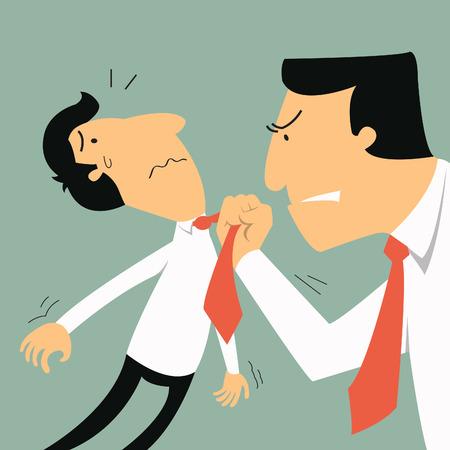 big business: Hombre de negocios de Big amenaza m�s peque�o hombre de negocios en la ira y el sentimiento concepto emocional en furiosa y agresiva