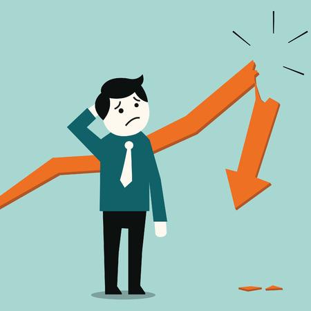 faillite: L'homme d'affaires debout et en regardant dans le d�sespoir au concept de fl�che d'affaires statistique en panne en cas de faillite ou de descendre �conomie Illustration