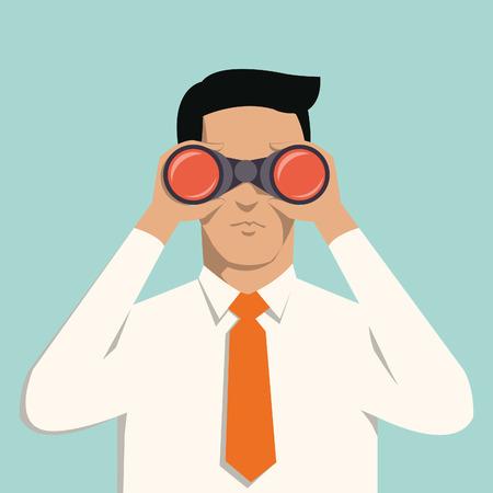 Apuesto hombre de negocios joven con los prismáticos concepto de negocios en la visión y el liderazgo