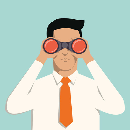 Young handsome businessman with binoculars  Business concept in vision and leadership   Vector
