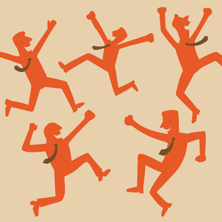 businessman jumping: Silhouette of happy and jumping businessman in vintage style  Feeling and emotion concept in winning or happiness