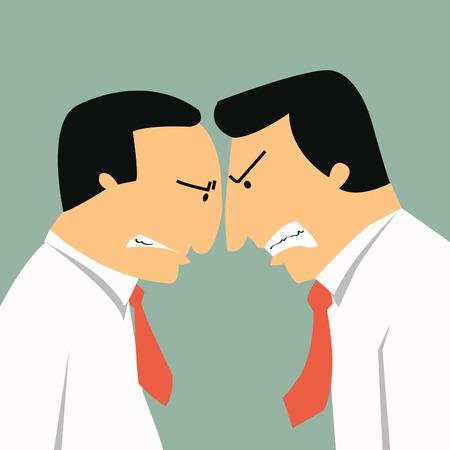 Twee boos zakenlieden kopstoten in business concept in conflict en confrontatie