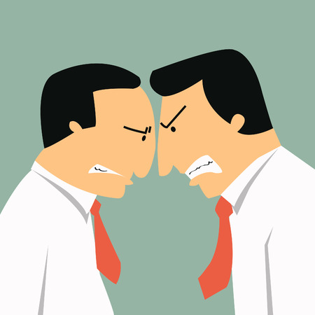 opposition: Two angry businessmen head butting in business concept in conflict and confrontation