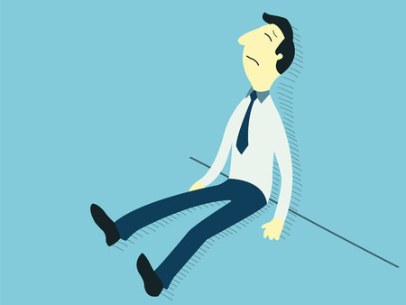 Upset businessman sitting on the floor and lean against the wall  Business concept in failure, sad, lonely, bankruptcy or negative expression