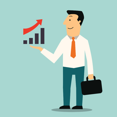 growing business: Businessman standing and carrying briefcase with showing raising arrow and growing graph  Growing business concept in economy and investment