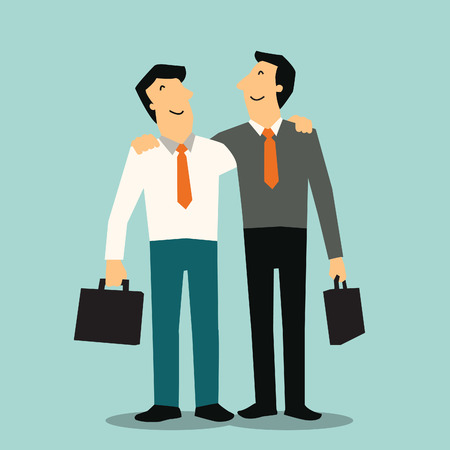 happy businessman: Two happy businessman holding each other Illustration