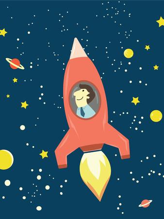 éxtasis: Hombre de negocios feliz en el cohete de volar en el espacio exterior Fondo abstracto del asunto con antelación en el futuro y el concepto de exploración