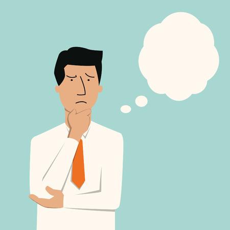 reflexionando: Hombre de negocios pensando en algo serio