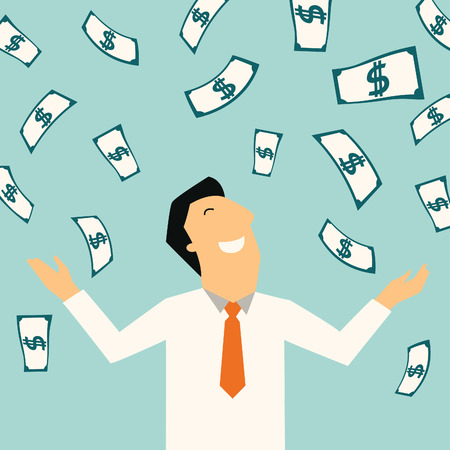 money rain: Businessman happy with a lot of dollar banknote flowing in the air  Financial business concept in wealthy, rich, prosperity, winning, or successful