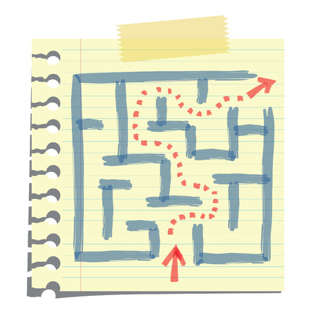 Sketching of arrow passing through labyrinth, on note paper, isolated on white  Abstract background on solution or strategy to solve problem concept  Vector