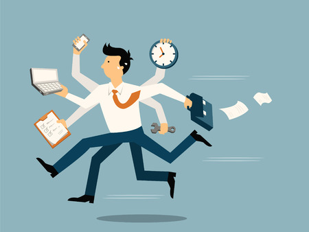 tired: Businessman running in a hurry with many hands holding time, smart phone, laptop, wrench, papernote and briefcase, business concept in very busy or a lot of work to do.  Illustration