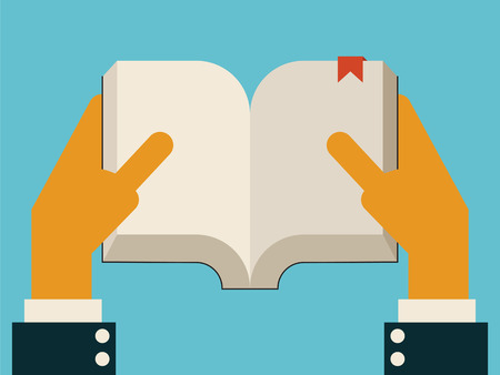 pocket book: Businessman hands holding empty open book in style of trendy flat design, you can write your own text or design in copy space.  Illustration