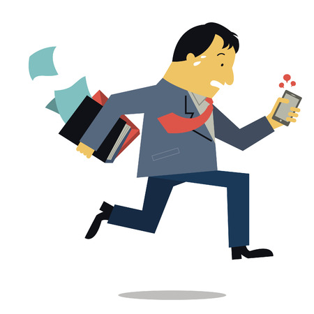 Businessman, can be representing to boss or manager, holding document file and smart phone running in a hurry. Business concept in very busy businesspeople.  Vector