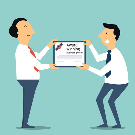 Senior businessman handing a certificate, award winning, to younger businessperson. You can write your own text or design in copyspace.