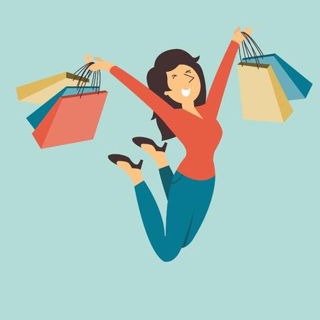 Mujer bonita feliz y alegre que salta en el aire con la bolsa de compras en sus manos. Vectores