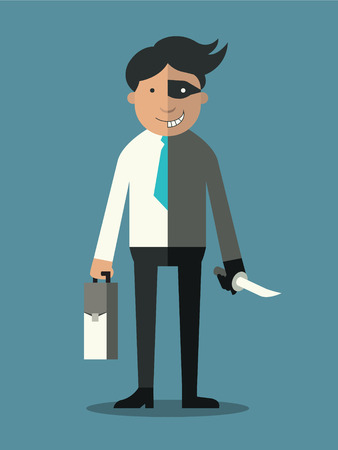 character traits: Businessman who has two faces, good business man and other side is robber with knife.   Illustration