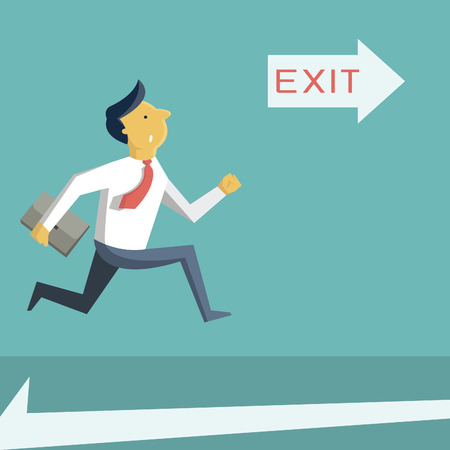 evacuation: Businessman running in a hurry, looking at arrow with exit sign, and going to open door. Business concept in safety, urgency, security, or emergency.