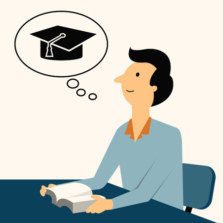 finished: Man sitting and reading  a book, thinking of graduation cap, representing to be graduated in studying or finished school or university.  Illustration