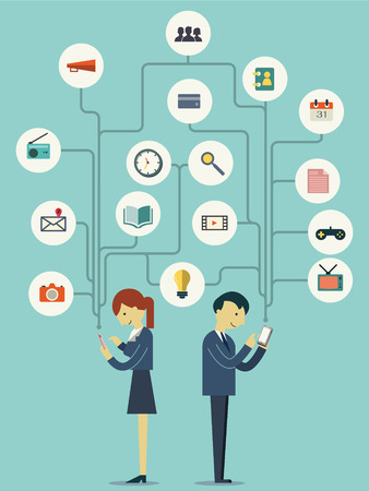 Businesspeople, man and woman, standing and using smart phone in many ways representing with flat design icons. Technology with social network concept.   Vector