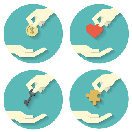 giving money: Icons set of hand picking and giving money coin, heart shape, key, and jigsaw. Abstract concept in giving money,  love, strategy in solving problem or management. Flat design with long shadow.  Illustration