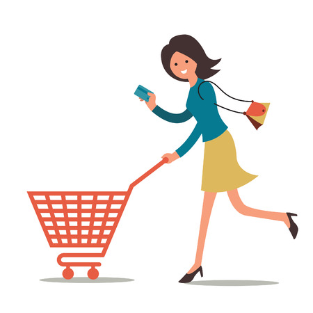 woman credit card: Pretty woman holding credit card, go shopping with blank shopping cart.  Illustration