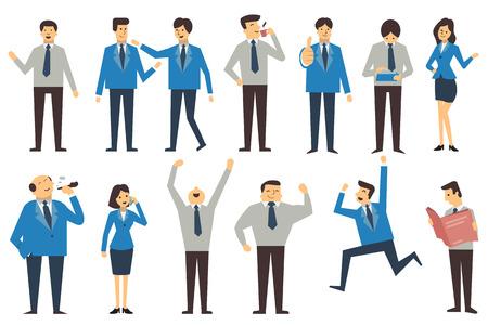 hombre fumando: Conjunto de personas de negocios en diferentes poses, la acción y los personajes