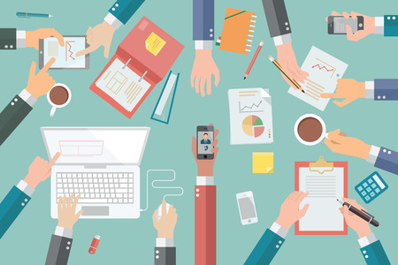 Empresario manos con diferentes poses, que sostienen, apuntando, que presentan, por escrito, en la reunión de negocios muy ocupado o conferencia. Ilustración de vector
