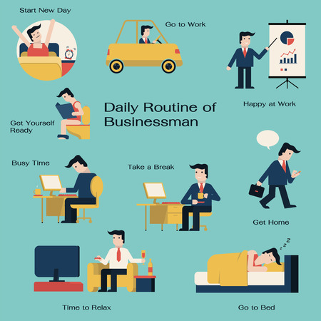 and activities: Businessman in daily routine, get up, drive to work, working,  presenting, take a break, go home, get relax, and go to bed. Simple in flat design style.