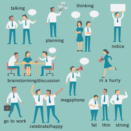 Conjunto de los empresarios o de los trabajadores de oficina, hombre y mujer, varios personajes y actividades