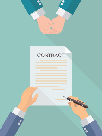 signing contract: Businessman hand sign business contract paper sheet after agreement, trendy flat design with shadow, top view. Illustration