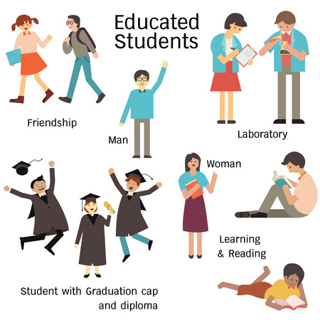 school class: Educated students in many characters, man and woman, walking with friend, learning in laboratory, reading, and graduation cap and diploma. Simple design.