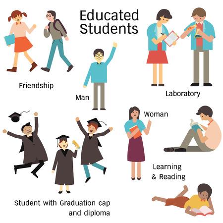 graduacion caricatura: Los estudiantes educados en el número de caracteres, hombre y mujer, caminando con su amigo, el aprendizaje en el laboratorio, la lectura y la tapa de graduación y diploma. Diseño simple. Vectores