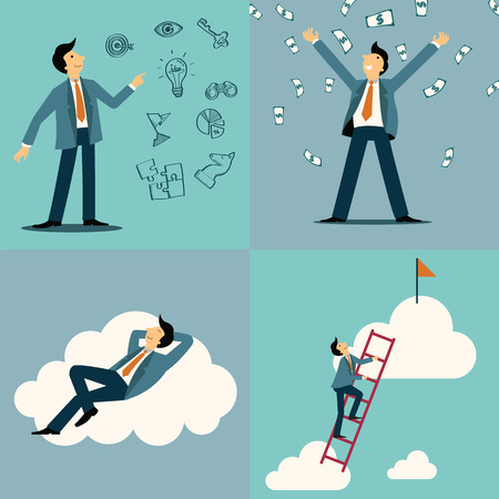 Businessman in various character, with idea and vision sketching icons, money, happiness on cloud, and with step on ladder to be success. Vector