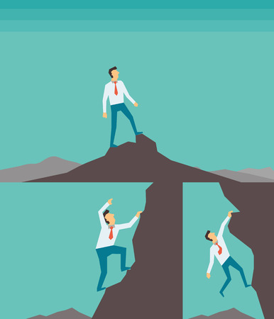 overcome a challenge: Abstract background on successful business concept, businessman climbing, and reaching to the top of high mountain. Each layers are seperated, easy to used and edited.