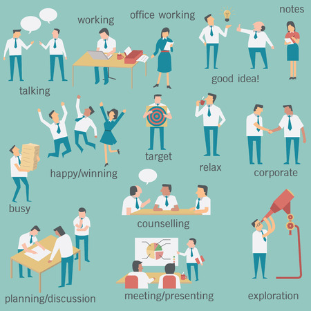 Set of businesspeople or office workers, man and woman, in various characters and activities, simple design and easy to use. More set in my portfolio.