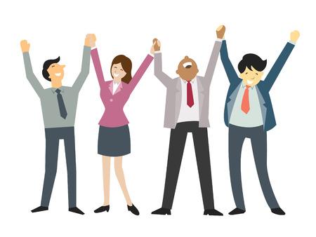 幸せと成功したビジネスマン、手を握って、手、チームワークと株式会社のビジネスの概念を上げます。