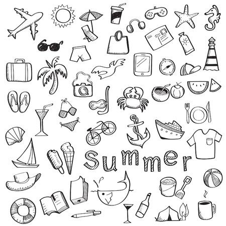 horsefish: Conjunto de dibujar con la mano escribiendo sobre el verano, los viajes y el objeto de fiesta, aislado en blanco