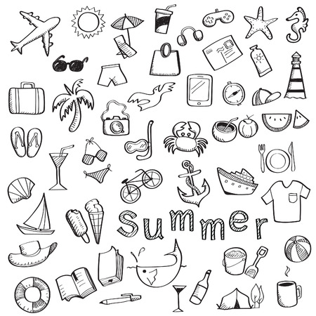 Set of sketching with hand writing about summer, travel and holiday object, isolated on white