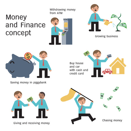 grow money: Businessman in money and finance concept, withdrawing cash, growing business, saving, buying, giving and receiving money, and chasing money. Simple design. Illustration
