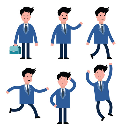 man confused: Businessman, suit man, in various poses, isolated on white set one. There are more character cartoon set in my portfolio.