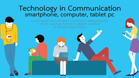 gente comunicandose: Los jóvenes, hombre y mujer, utilizando gadget de tecnología, smartphone, teléfono móvil, PC de la tableta, ordenador portátil en el concepto de comunicación. Diseño plano con copyspace.