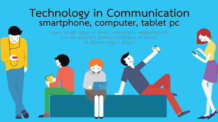 Young people, man and woman, using technology gadget, smartphone, mobile phone, tablet pc, laptop computer in communication concept. Flat design with copyspace. Иллюстрация