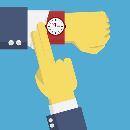 time clock: Businessman hands checking time by looking at watch on the wrist, business concept about checking time, deadline, time limit, presure on time. Illustration