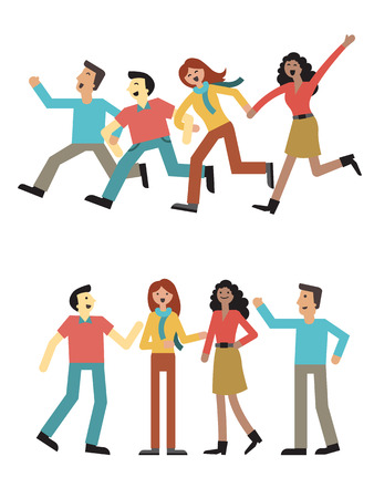 friends together: Group of teenagers, multi-ethnic, man and woman enjoy holding hand and running, talking, and happy together. Simple disign, isolated on white.