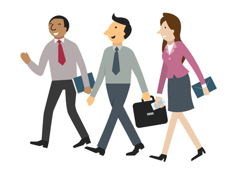 Character of businessman and woman walking and talking together in corporate or partnership concept. Simple design, isolated on white, seperated layers for easy to use. Vector